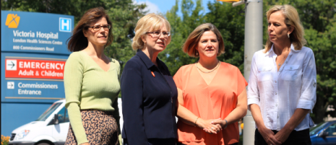 Peggy Sattler with Andrea Horwath during the August Ontario byelection